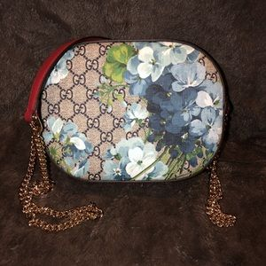 GG Blooms Coated Canvas Small Crossbody Purse